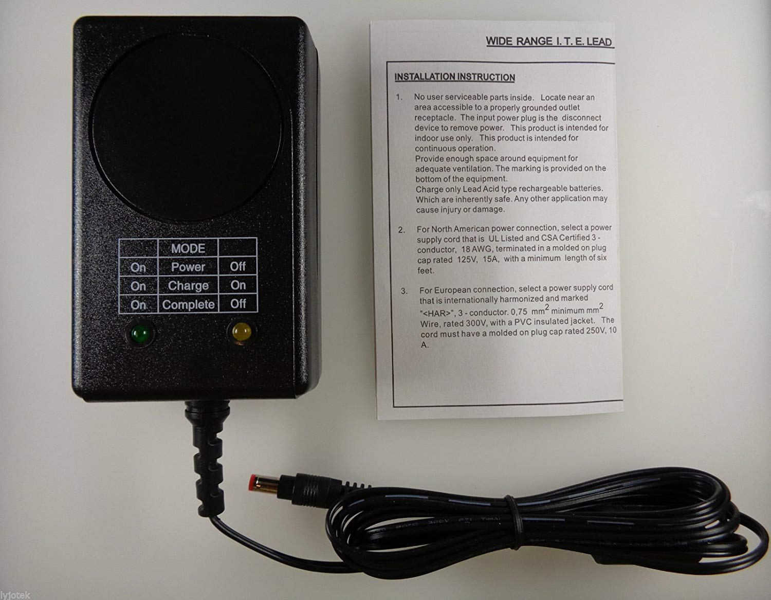 """""""SL Power ( Ault / Condor ) BVL121200003N Charger, Battery; 12 VDC; 1.2 A; 17.64 W; 100 to 250 VAC; Automatic Fast/Float"""""""