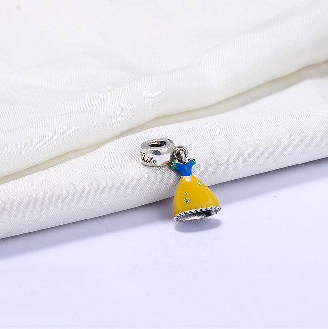 Delightful Snow White's Dress Hanging <strong>Charm</strong> With Wide Yellow Skirt illuminated with hand-applied enamel