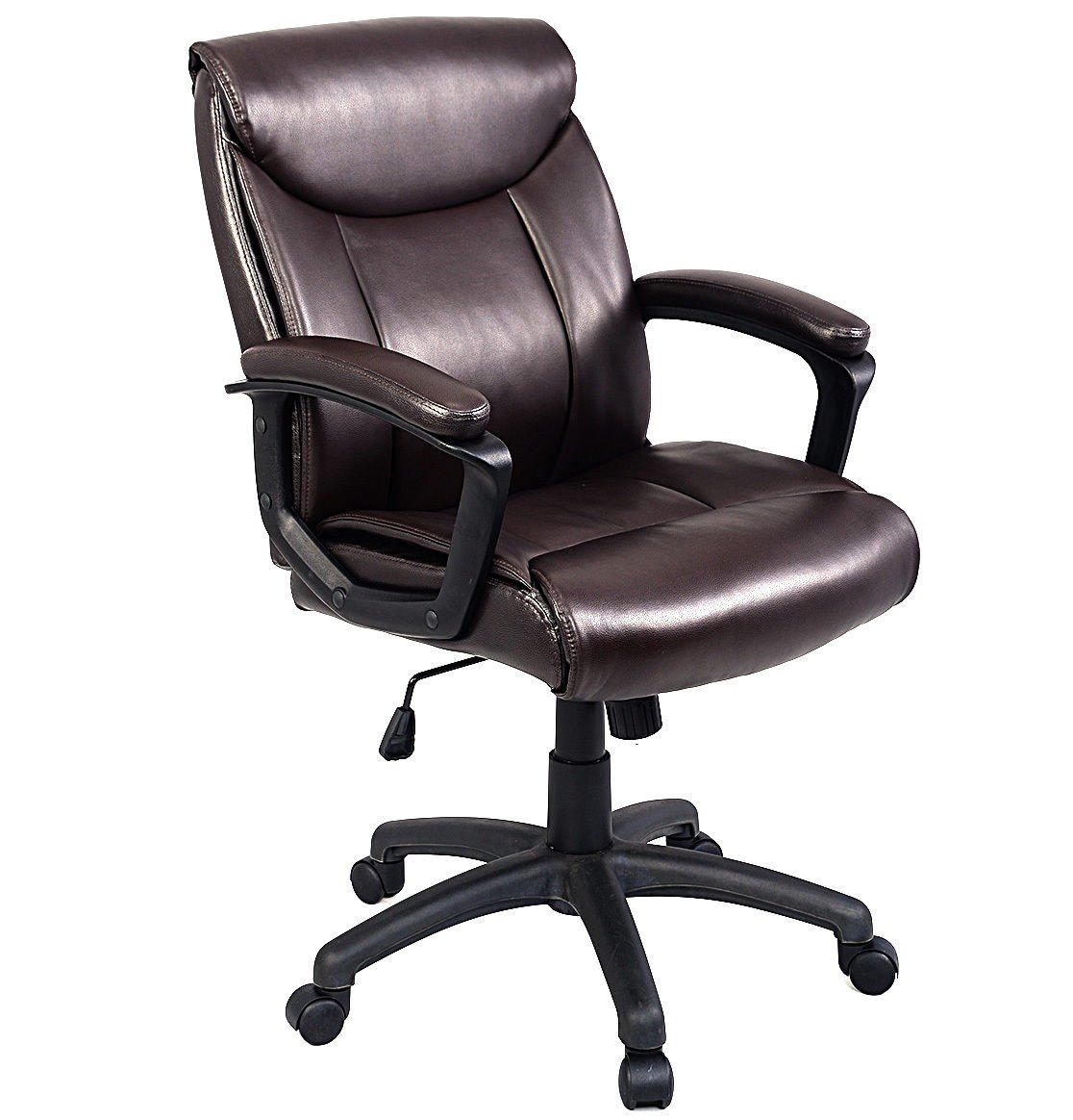 "Giantex Ergonomic Task Chair PU Mid-Back Leather Executive Computer Desk Task Office Chair (Brown 24.2""X 27""X37.2""-41.1"")"