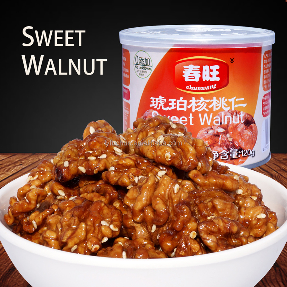 High protein Chinese canned food sweet walnut kernel120g snack