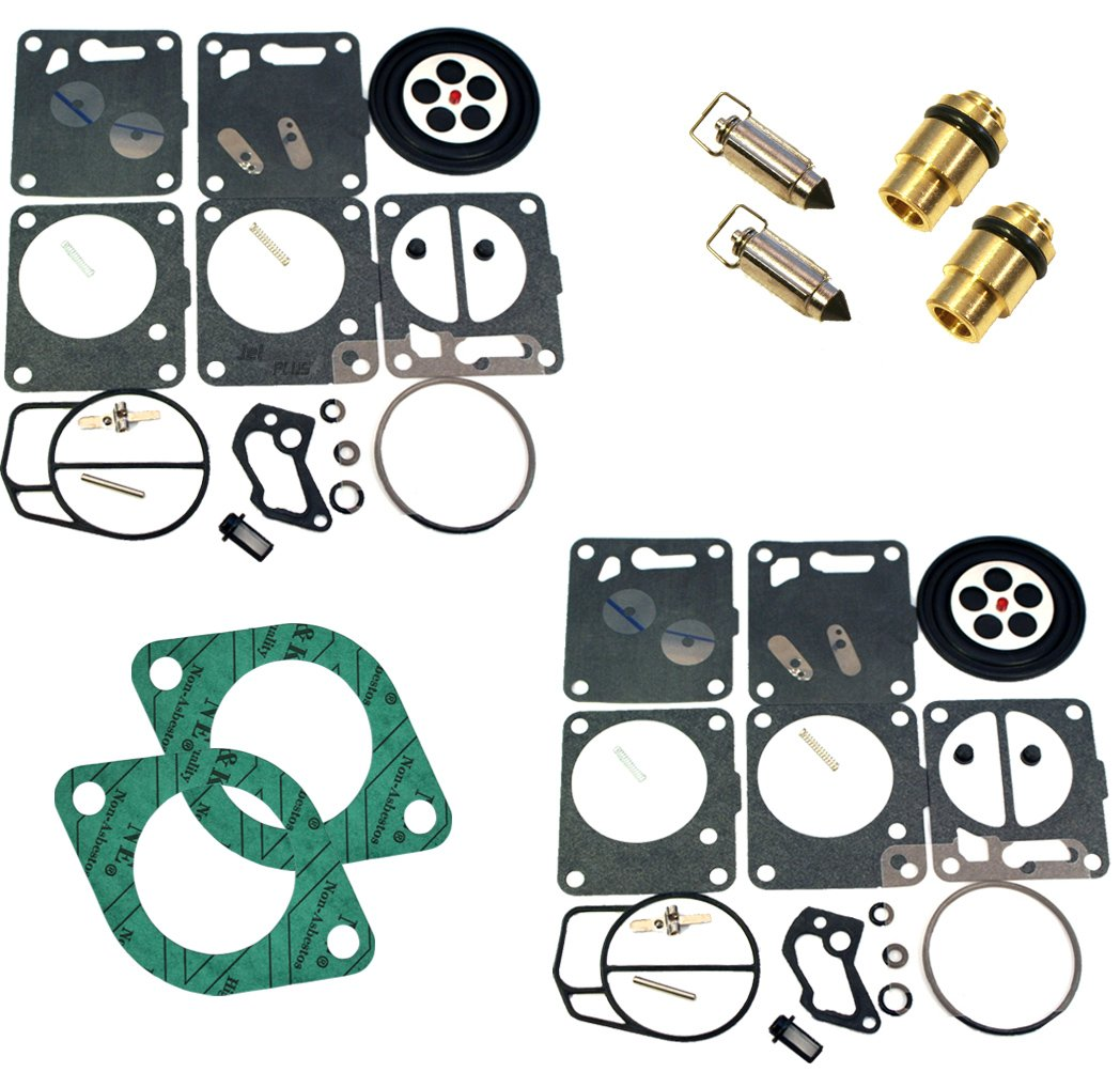 Premium Venom Brand SeaDoo Dual Mikuni Carburetor Rebuild Kit & Needle Seat & Carb Gasket FITS 96-97 GSX & XP / 95-97 GTX / 1997-1999 SPX COMPLETE KIT