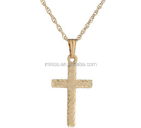 14k Yellow Gold Engraved Solid Cross Pendant Necklace for Unisex in China Factory
