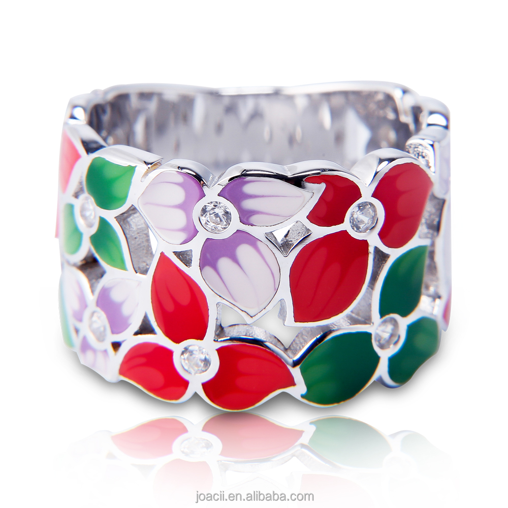 Joacii Newest Design Fashion Colorful Enamel Ruby Stone 925 Silver 18K White Gold PlatedJewelry Ring for Women and Men