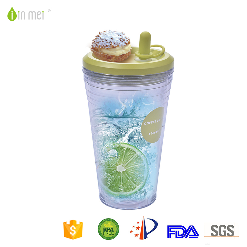 Safety healthy double wall plastic juice mug with straw for sale