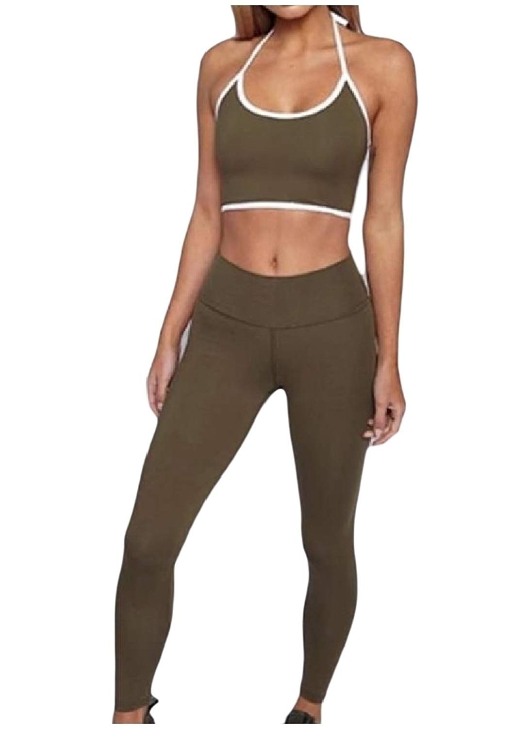 YUNY Women's Regular Fit Backless Strappy Camisole Sweatsuit Set
