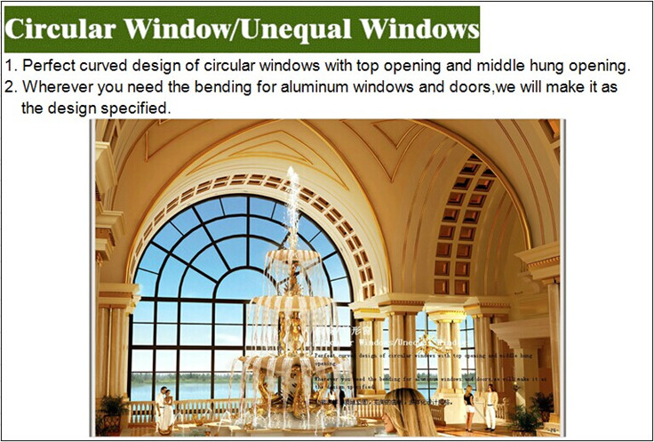 Openning Circular Window With 1.4m Thickness Aluminium Profiles ...
