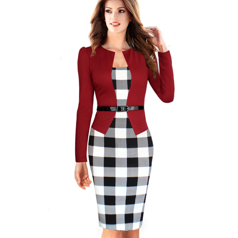 Women Dress Suit Elegant Business Suits Blazer Formal Office Work Tunics 3 4 Sleeve Knee Length Pencil Plus Size 4xl Nice Clothing