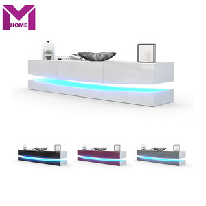 Modern Wooden LED Light High Glass Wall Mounted TV Stand Furniture