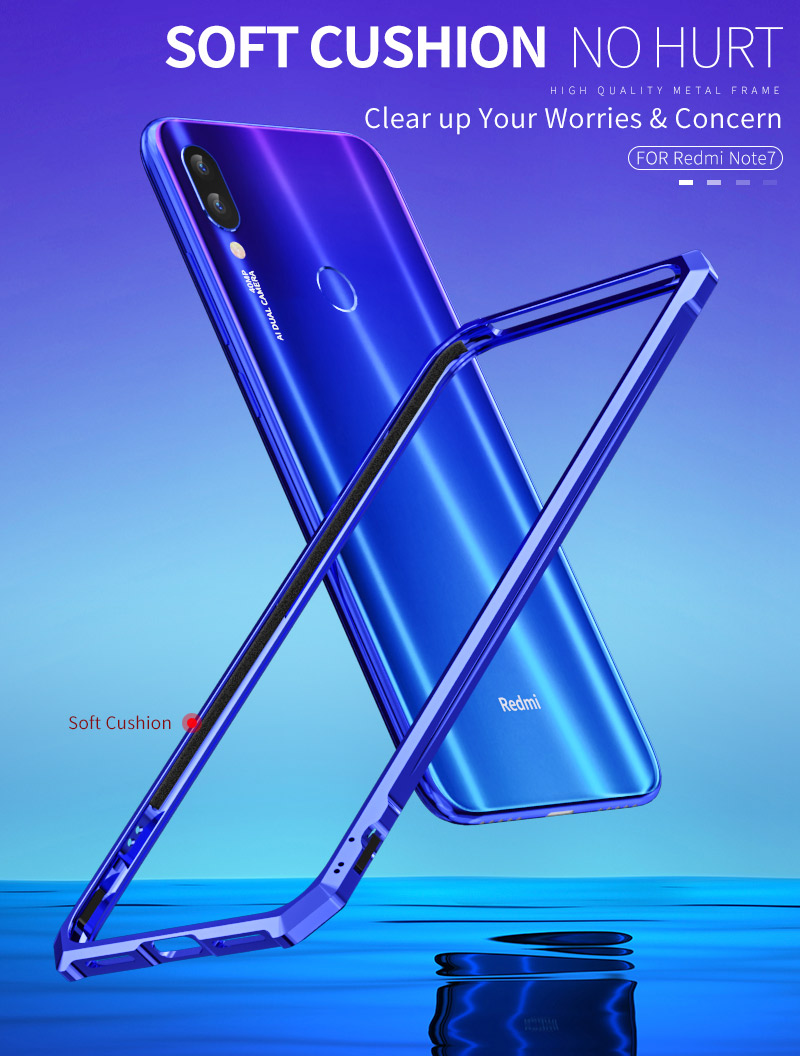OMEVE for Xiaomi Redmi Note 7 Bumper Case Aluminum Alloy Metal Frame Bumper Cover for Redmi Note7 6.3 inches