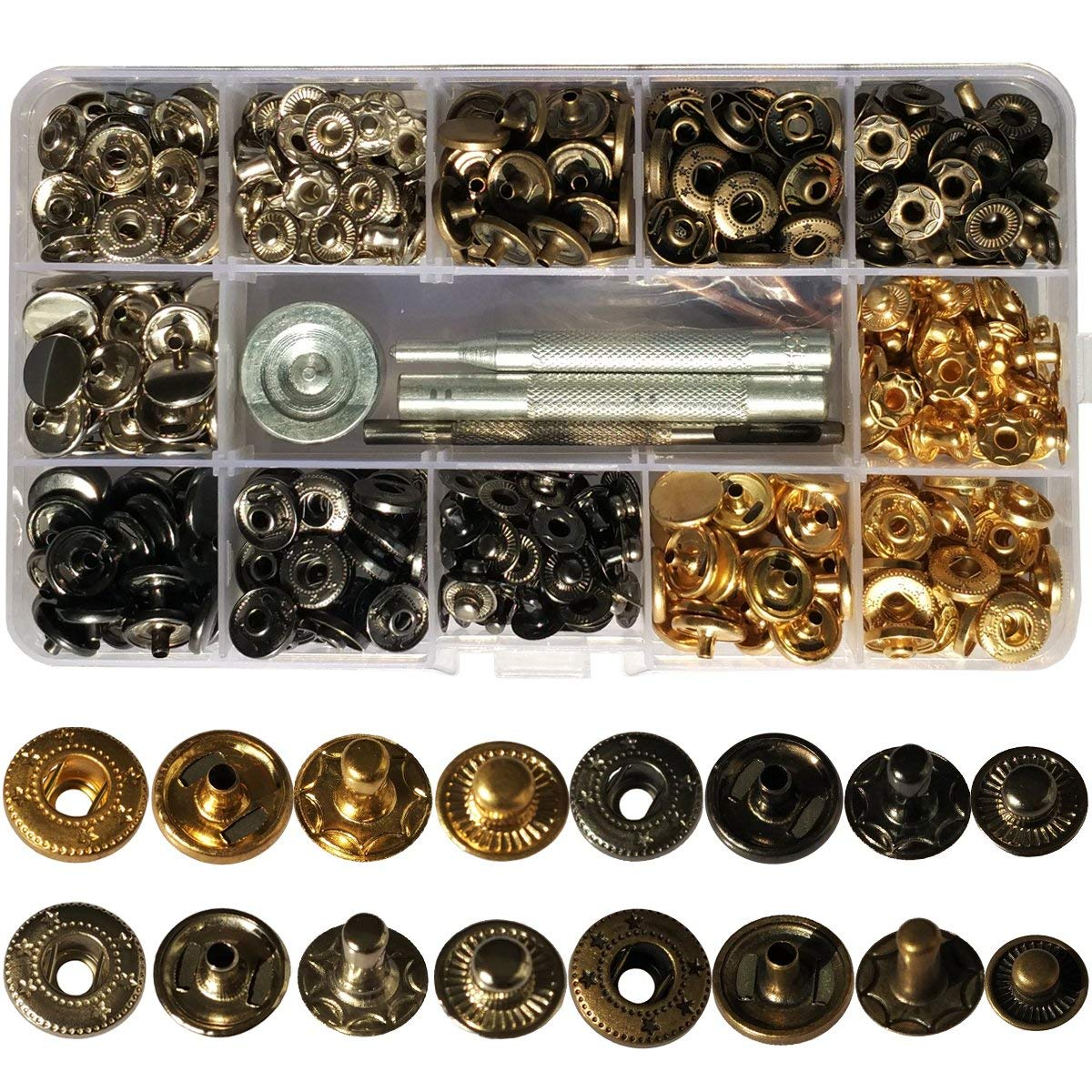 120 Sets Snap Fastener Kit Button Tool Press Studs Fastener Snap on Set Clothing Snaps Kit Fixing Tool (633(12.5mm)) 4 Colors for Leather Craft Repairing Decoration