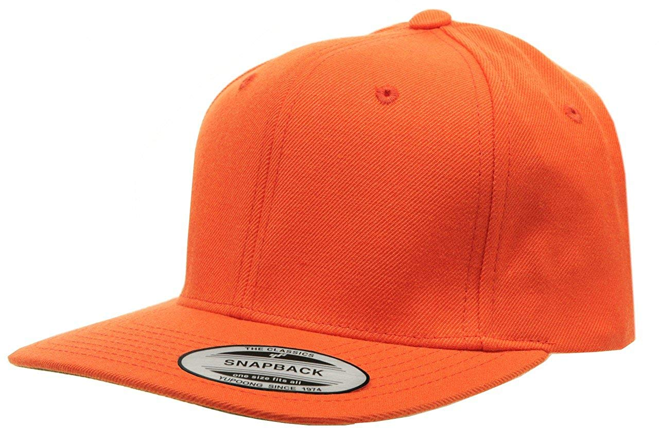 f9429068f35 Get Quotations · Original Yupoong Pro-style Wool Blend Snapback Blank Hat  Baseball Cap- Orange