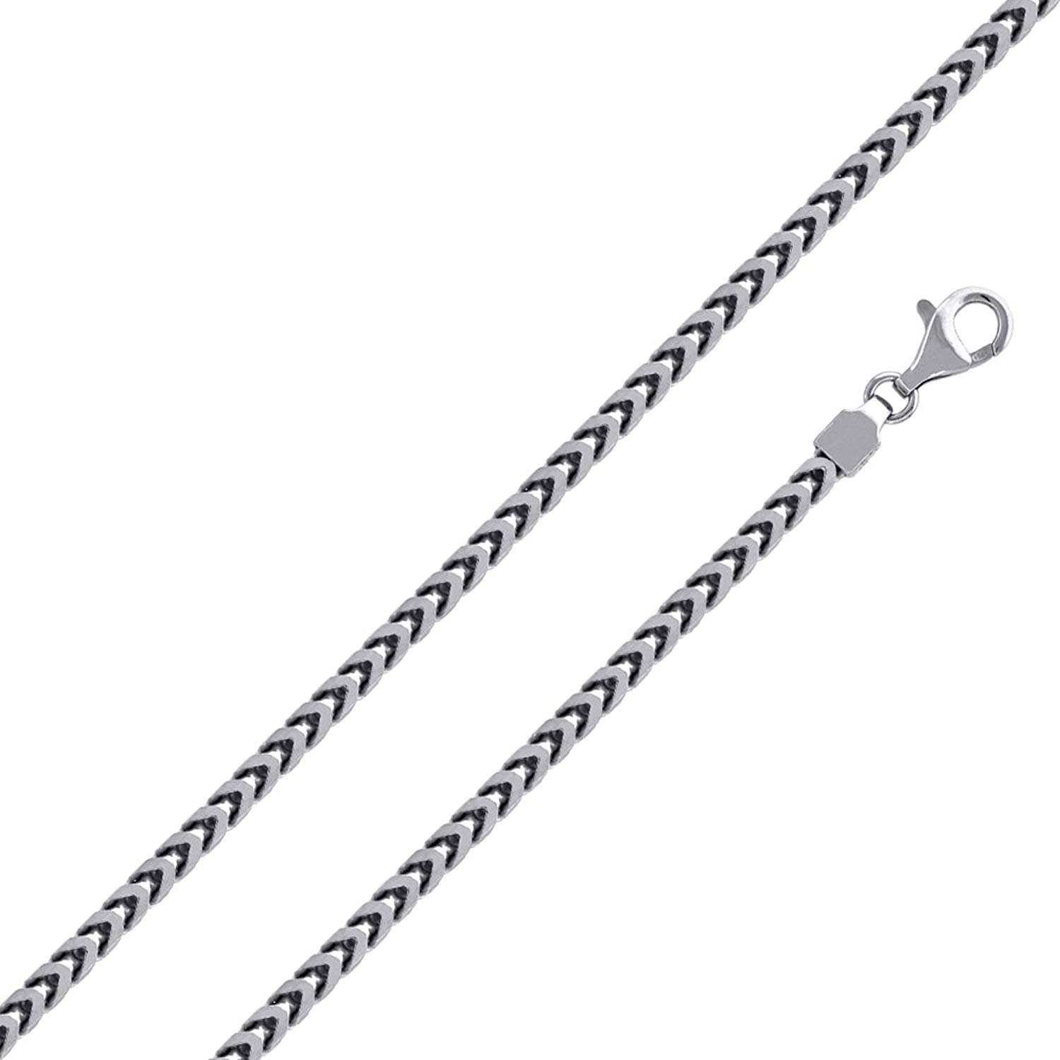 """Men/'s Solid Sterling Silver Rhodium Plated 3.7mm Square Heavy Chain Necklace 36/"""""""