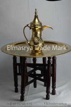 Merveilleux Handmade Brass Jug And Brass Tray Table Top And Wooden Folding Base, #TT