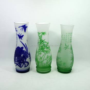Green Sandblasting Chinese Style Glass Flower Mini Vase For Home