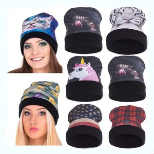 40df7c1a3f4 2017 New Design Funny Oversized Slouchy 100 cotton beanie hat 3D Digital  Print beanie wholesale