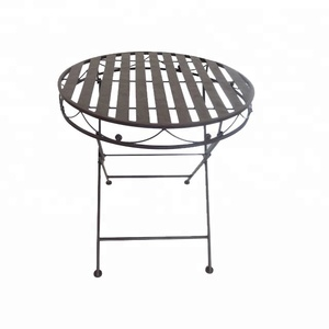 hand painted Classic estate brown metal steel patio folding garden furniture bistro set round 70