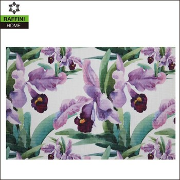 Moderen design Purple Flower printed vinyl placemat