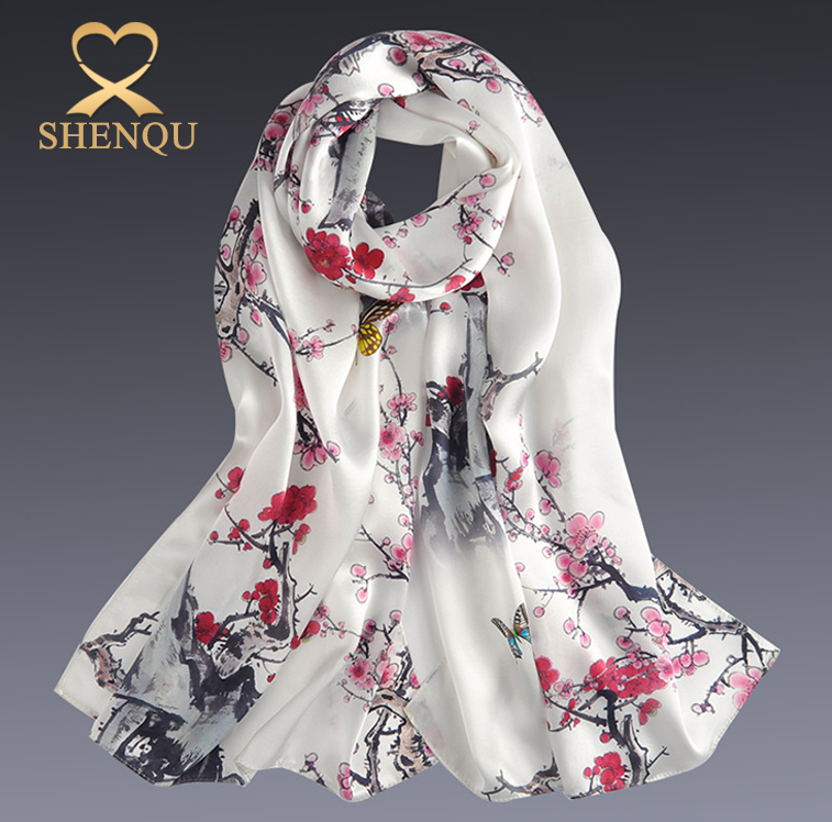 2017 new digital printing malaysia muslim scarf silk satin shawl floral head scarf Luxurious 100% Charmeuse Silk Long Scarf