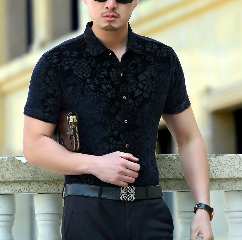 Us 33 75 6 Off Men Summer Short Sleeved Smart Casual Silk Shirts Mens Dragon Dress Club Outfits Black Luxury Slim Fit In