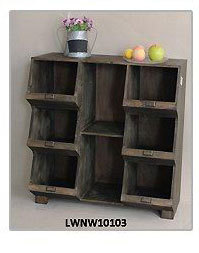 VINTAGE WOODEN SHELF WITH BLACKBOARD AND 2 DRAWER