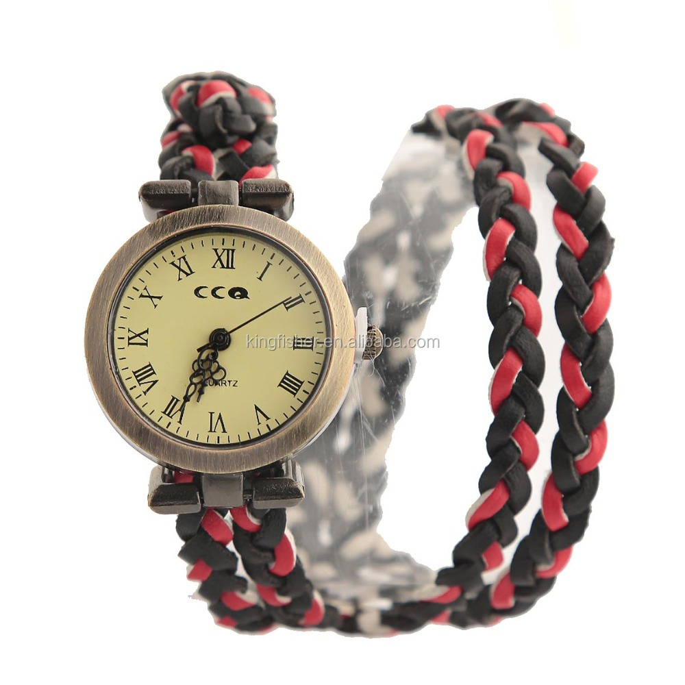 Multi rope handmade knitted leather woven bracelet watch for unisex