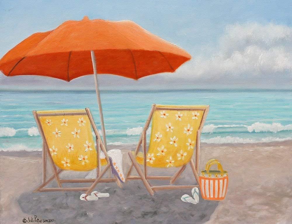 "Orange Beach Umbrella by Julie Peterson - 8"" x 10"" Giclee Canvas Art Print"