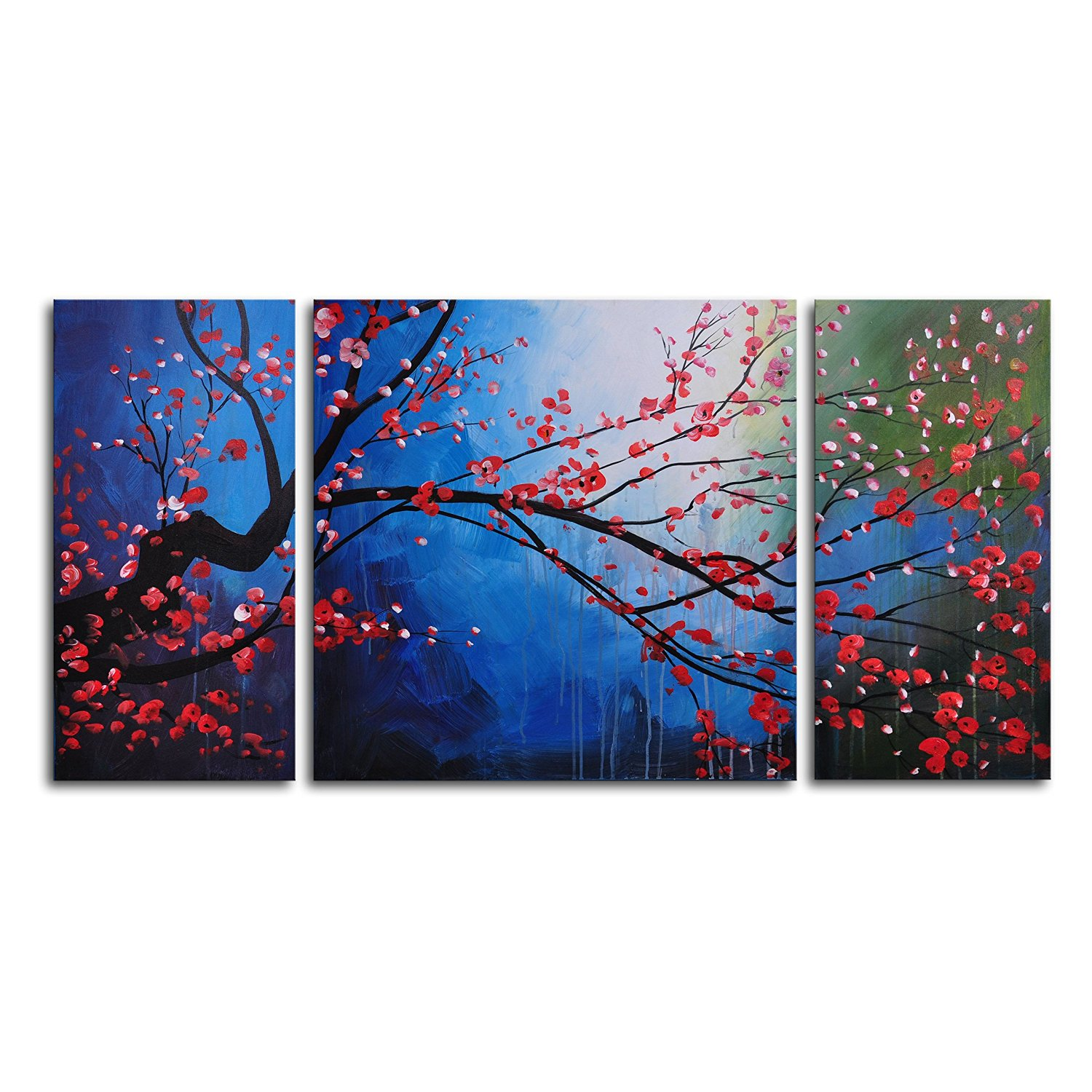 TJie Art Hand Painted Mordern Oil Paintings Stormy Cherry Tree 3, For indoor use 3-piece wall art in classic style, Hand-painted on canvas with high-quality oil, Nature theme in a mix of blue red and black, Dimensions: 48W x 24H in.