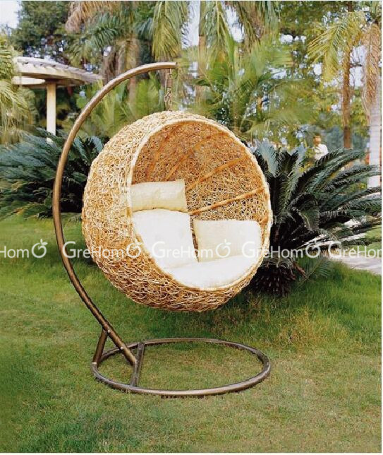 Delightful Luxury Cane Chair Garden Swing With Stand