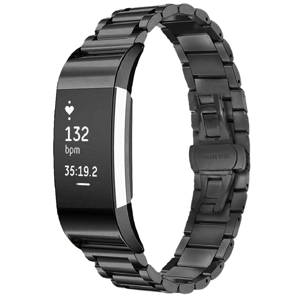TOOGOO(R) Stainless Steel Replacement Smart Watch Band with Double Button Folding Clasp for Fitbit Charge 2 (Black)