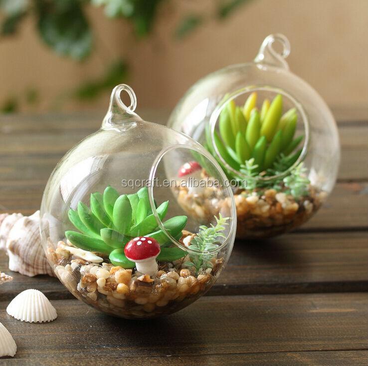Mini decorative palla di vetro giardino con artificiali for Piante decorative