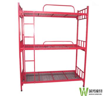 Hoogte Verstelbare Drie Tier Bed, Triple Stapelbed, School Student Metalen  Stapelbed