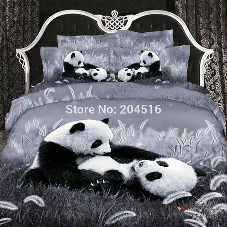 noir blanc b b panda animaux 3d print ensemble de literie. Black Bedroom Furniture Sets. Home Design Ideas
