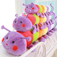 Wholesale Creative colorful worm soft insect plush toy cartoon plush caterpillar pillow