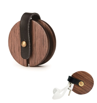 Wooden Unique Earphone cable holder Earbud Cord Winder