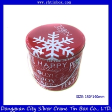 Christmas candy tin bucket with handle