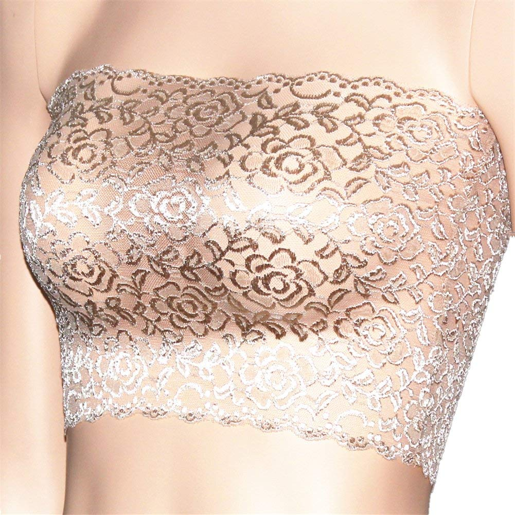 912ba4aae7683 Get Quotations · CENG MAU Women s Plus Size Floral Lace Unlined Stretchy  Strapless Bandeau Tube Tops See Through Bras
