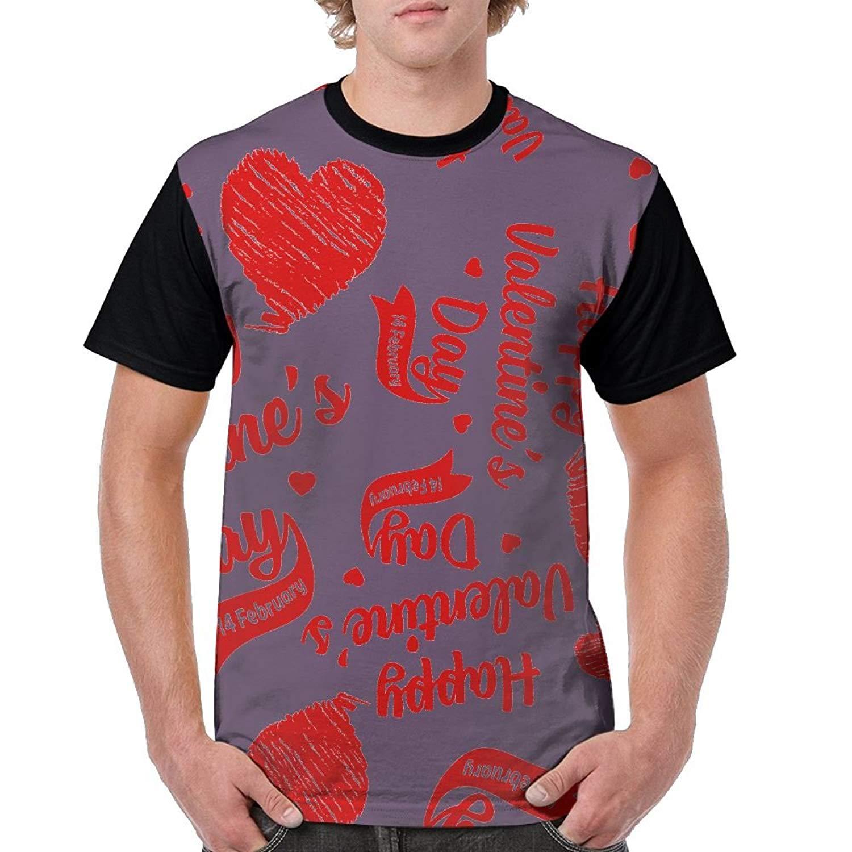 Happy Valentine's Day Mens 3D Print T-Shirt Crew Neck Classic Short-Sleeve Shirt