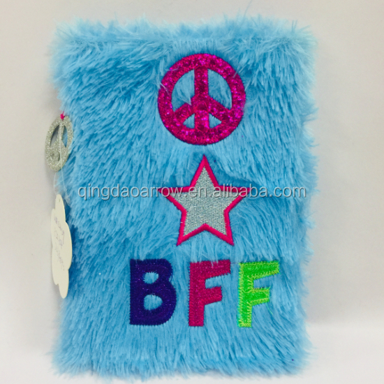 Fashion Notebooks With Faux Fur Cover school supplies Plush journal plush notebook