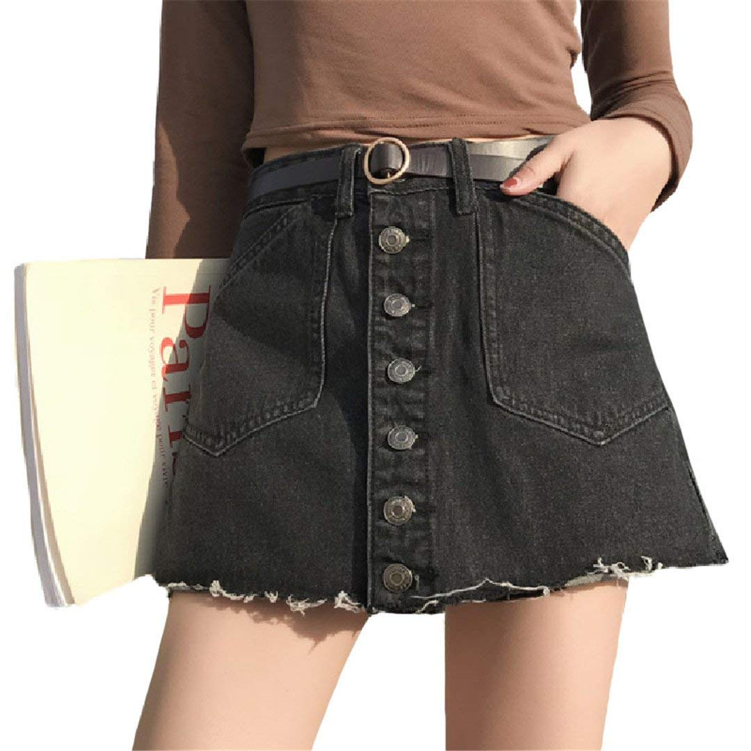 172ace5fce Get Quotations · NZDQ Two Pieces A-Line Kawaii Single-Breasted Skirt Spring Summer  Women's High Waist