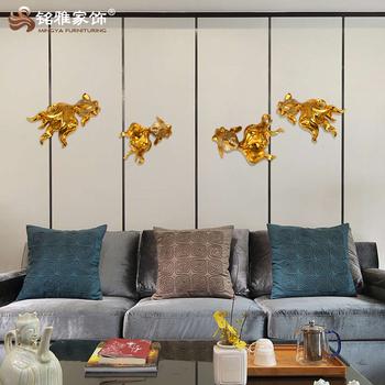 現代家の装飾3dアート樹脂金魚彫刻用リビングルーム装飾
