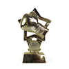 Customized resin gold plated boxing trophy