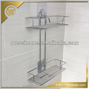 Factory Price Metal Double Layer Shelf Metal Hanging Shower Caddy Basket With Magic Sticker