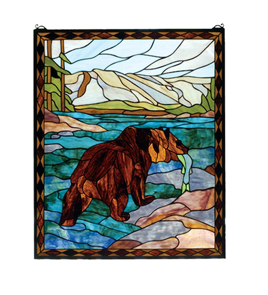 "Meyda Hand Crafted Designed Art Decorative Panel 25""W X 30""H Grizzly Bear Stained Glass Window"