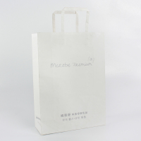 Wholesale custom flat handle white kraft paper shopping bag with logo print