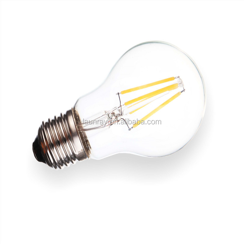 CE Rohs 220-240V Dimmable Vintage 1800-2200K Clear Cover Edison A60 LED 4W Filament lamp replace Tungsten <strong>Bulb</strong> with E26 E27 B22
