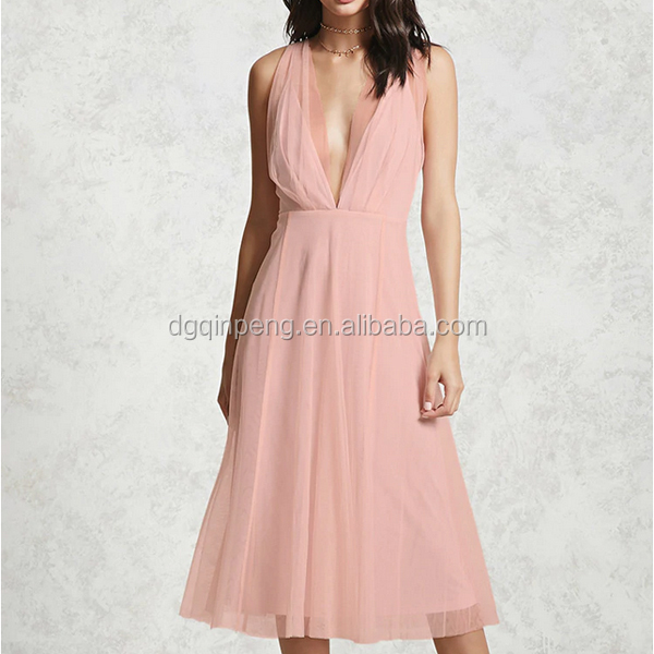 Sexy women perspective deep V collar sleeveless prom night dress party double garment min dresses