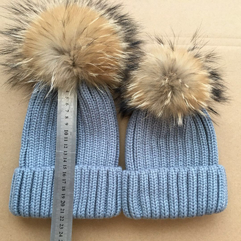 9631388d8c5 Mother and child series of Real Racoon Fur Pom Pom Wool Knit Winter Bobble  hat cap