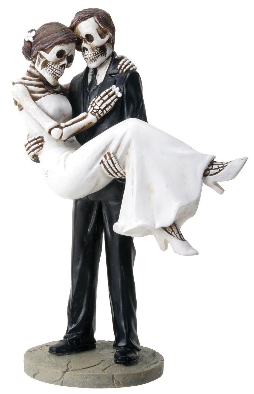 Groom Carrying Bride Skeleton Face Wedding Couple Statue Figurine