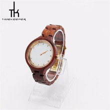 Ladies Red sandal wood watch hot selling 38mm diameter white dial art watch