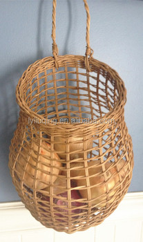 Onion Fruit Basket Wicker Gift Storage Wall Hanging Woven Mounted